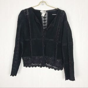 ✅ Suede leather jacket lace crochet